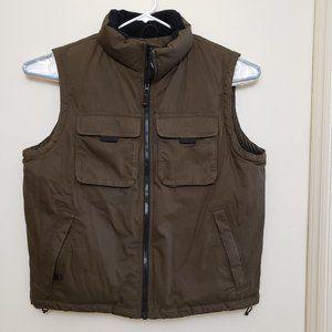 Eddie Bauer Men's Lg Goose Down Vest Olive Green